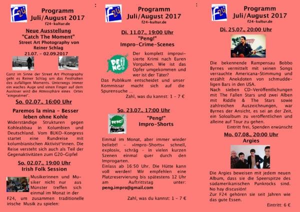 Das Juli/August-Programm