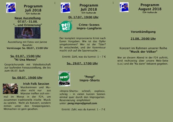 Das Juli-Programm im Überblick