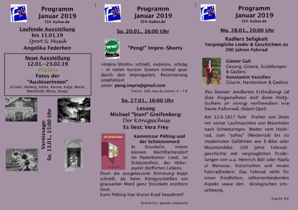 Kulturprogramm im Januar 2019 im Monatsüberblick